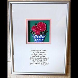 Friendship Art 3D Porcelain Flower Pot W/Saying,